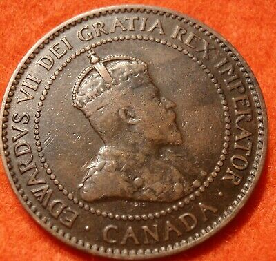 1907 H CANADA LARGE CENT Edward VII COIN NoRes CANADIAN High Grade!  --<