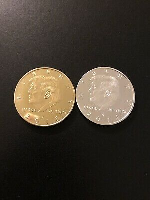 Donald Trump Gold And Silver Plated Coins 2018( 2 Coins)~Commemorative