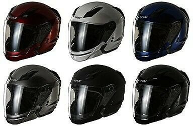 Fly Racing Tourist Solid Open Face Helmet Flat Black F73-8101~3 Md