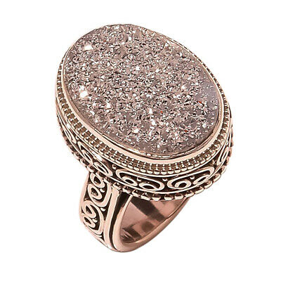 Silver Titanium Druzy vintage Style 925 Sterling Silver Ring 5(1261)