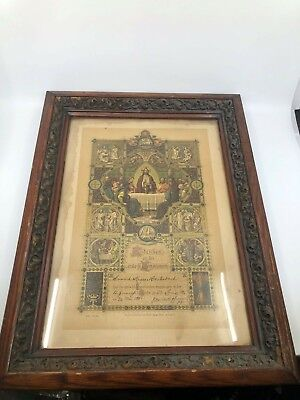 Antique Victorian Wood Frame Ornate with German Communion Certificate