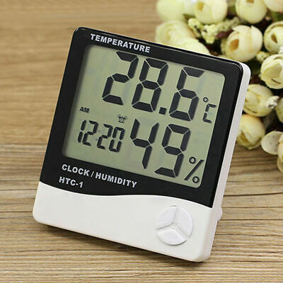 Digital LCD Home Thermometer Hygrometer Temperature Humidity Meter Gauge Clock