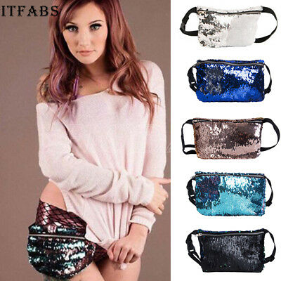 Travel Glitter Bum Bag  Money Waist Belt Fanny Pack Holiday Festival Money Pouch