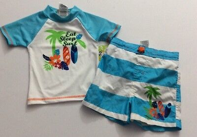17d7f3b195 MICK MACK TODDLER Boys 2T 2 Pc Rash Guard Swim Trunks Shorts Shark ...