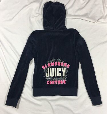Girls Juicy Couture Velour Track Jacket Navy Blue XL