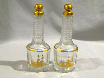 Pair of BACCARAT FRANCE DECCANTERS - BOTTLES w/GOLD DECORATION - SOME CLOUDINESS