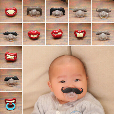Pacifier Silicone Teeth Mustache Dummy Baby Beard Nipples Orthodontic Funny Kids