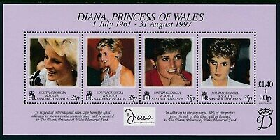 1998 South Georgia Princess Diana Memorial Minisheet Fine Mint Mnh