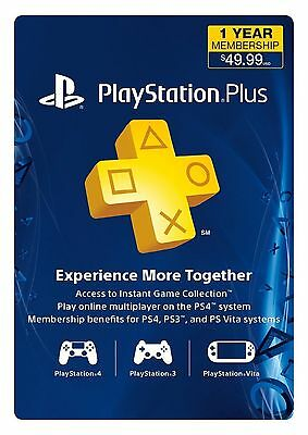 Sony USA PlayStation Plus 1 Year Subscription PS3 PS4 PS Vita 12 months key code