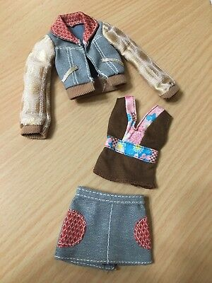 Barbie My Scene Doll Faux Fur Collar Belted Jacket Denim Jeans Pant Outfit Rare