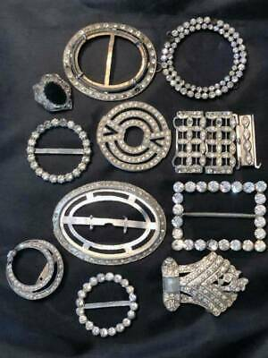 Lot Of 11 Vintage Rhinestone Belt Buckles
