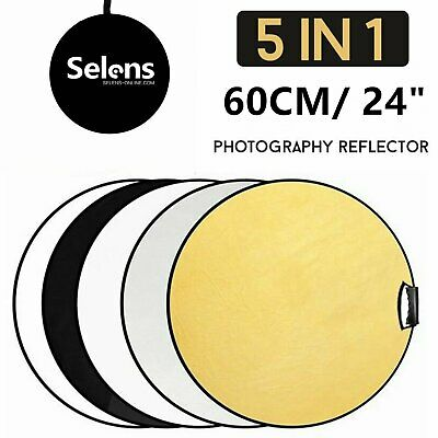 60CM 5in1 Photo Reflector with Handle Grip Studio Photography Light Collapsible