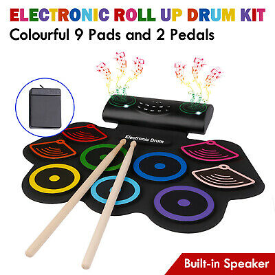 9 Pads Electronic Roll Up Drum Kit Silicone Portable Handroll Drum Kit Speaker