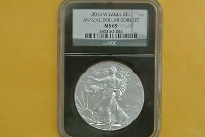 2013-W Burnished Silver Eagle NGC MS69 UNC (2013 Annual Dollar Set)