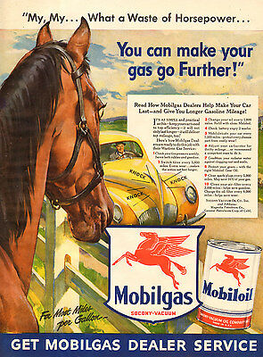 1940-49 Original 1942 Print Ad Mobilgas Mobiloil Red Horse Wartime Car Service Pays Wide Selection;