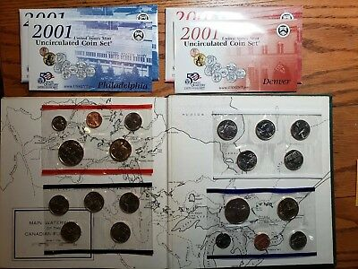 2001 Us Mint Uncirculated Coin Set Philadelphia Denver