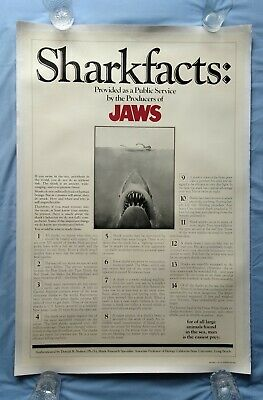 JAWS (1975) SHARKFACTS (SHARK FACTS) original US one-sheet movie poster linen-bk