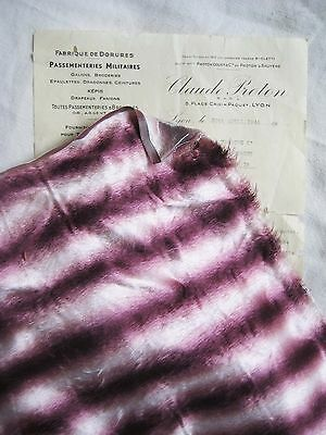 Fantastic Antique Vintage French Fabric Wine Ombre Stripe Furry Millinery Hat