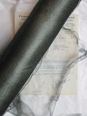 "18"" Antique Vintage UNUSED Dark Green French Metallic Mesh Tricotene Victorian"