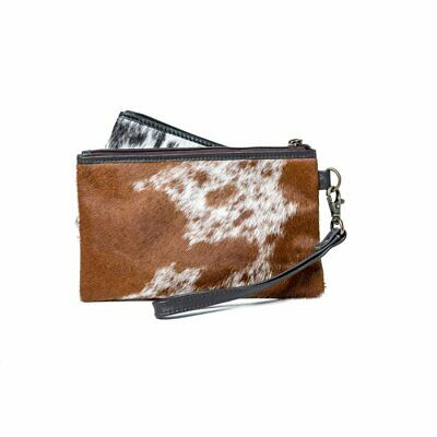 Doreen Cowhide Clutch/ Wallet With Detachable Hand Strap - Black