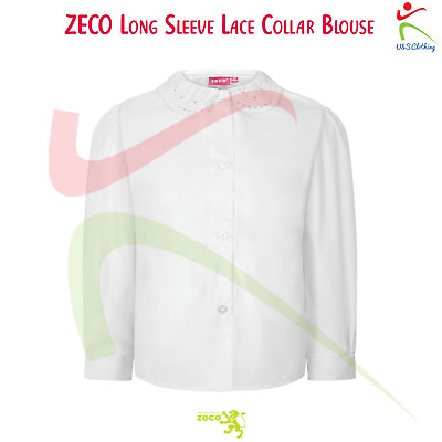Zeco Girls Long Sleeve Easy Iron Lace Collar School Uniform Wear White Blouse
