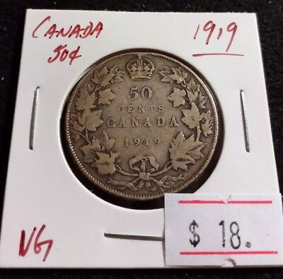 Canada 1919 50 cents Silver George V Nice Sterling Half Dollar Coin (#G96)