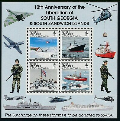 1992 SOUTH GEORGIA 10th ANNIVERSARY OF LIBERATION MINISHEET FINE MINT MNH