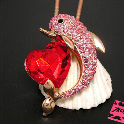 New Pink Cute Rhinestone Heart Dolphin Pendant Betsey Johnson Chain Necklace