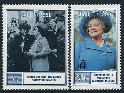 1990 SOUTH GEORGIA QUEEN MOTHER 90th BIRTHDAY SET OF 2 FINE MINT MNH