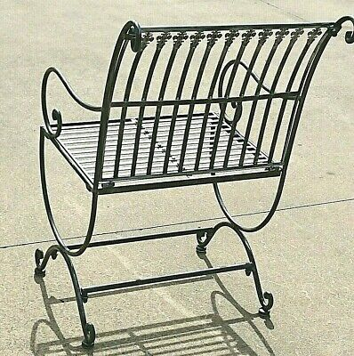 FRENCH garden antique silver black CHAIR WROUGHT IRON  QUALITY NEW     14kg