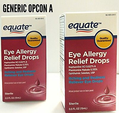 2 generic Opcon A Equate Allergy eye relief drop .5  ml  Exp 6/2020 .