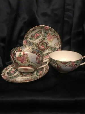 Chinese Export Pair Egg Shell Porcelain Rose Medallion Cups & Saucers Qianlong