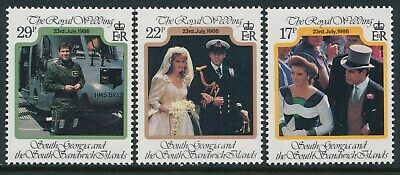 1986 South Georgia Prince Andrew & Sarah Royal Wedding Set Of 3 Fine Mint Mnh