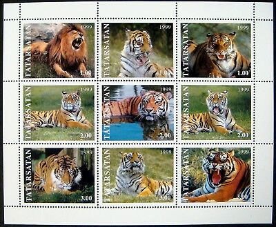 1999 Mnh Tatarstan Tiger Stamps Sheet Wildcat Wild Animal Wildlife Nature Bengal