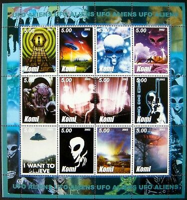 2002 Mnh Komi Science Fiction Stamps Sheet Space Aliens Flying Saucer Ufo Sci-Fi