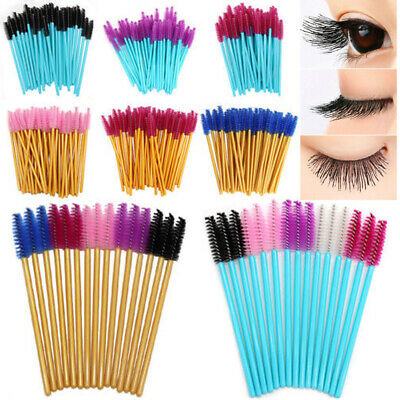 50PCS/Pack Micro Disposable Brush Mascara Wands Extension Eyelash Applicator neu