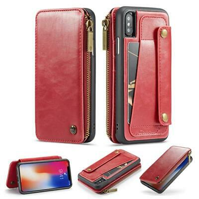 For iPhone XS Max XR 6 7 8 Plus Case Genuine Leather Wallet Zipper Flip Cover