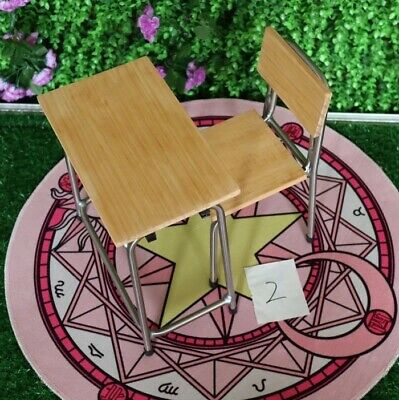 70cm BJD Dolls DIY Assembled Wooden Student Desk Chair Furniture Set
