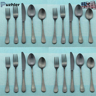 Black Flatware Set Stainless Steel Cutlery Silverware Set 20pcs Matte Dinnerware