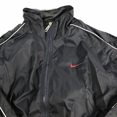 59a8e48a1f71e VINTAGE 90S NIKE Windbreaker Track Jacket Men's LARGE Blue Lined Swoosh (02)