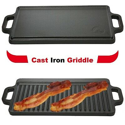 "Reversible Cast Iron Grill 17"" x 9"" Kitchen Cooking Pan Hamburger Top Steak Fry"