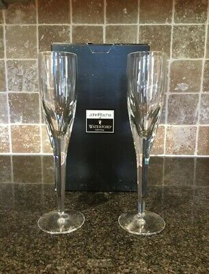 Pair of John Rocha at Waterford Crystal Imprint Champagne Flutes