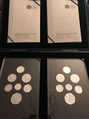 UK Royal Mint 2008 Emblems and Shield of Arms Silver Proof 14 Coin set