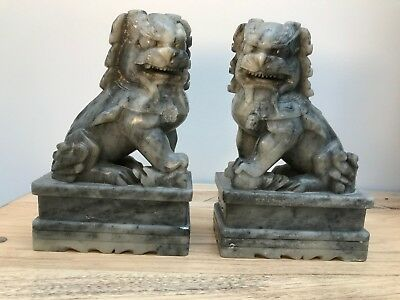 Vintage Hand Carved Soapstone Chinese Foo Dogs set on raised platforms 18cm tall