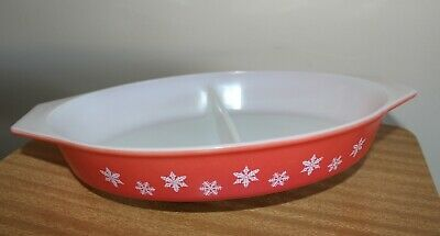 Collectable Vintage Red/coral Gaiety Snowflake Pyrex Divided Dish