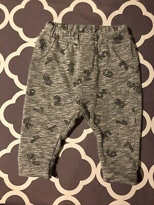 Zara Baby Boy Grey Number Tracksuit Pants Size 6 - 9 Months