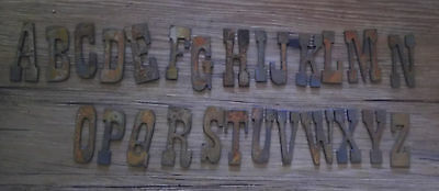 1.5 inch Rough Rusty Metal Vintage Western Complete Alphabet A-Z all 26 Letters