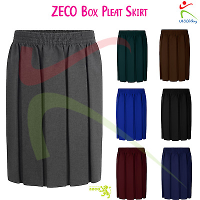 ZECO Girls Dress Box Pleat Polyester Premium Quality Skirt School Uniform Wear