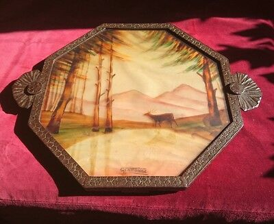 French Art Deco Wrought Iron  Octagonal Tray with painted Glass Top by Germonde