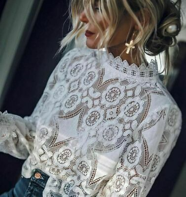 Zara Blogger Off White Combined Lace Top High Neck Cotton Blend Victorian Blouse